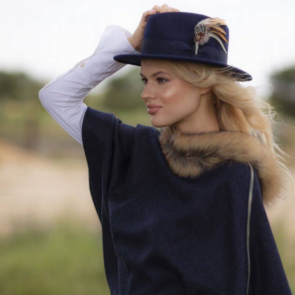 Wool Navy Fedora Hat  with Country Feather Brooch - Burford